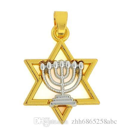 10 шт. / лот 18 К золото и посеребренные ожерелья еврейская вера два тона Менора в Давид Звезда религиозный шарм ожерелье Вера ювелирные изделия для женщин