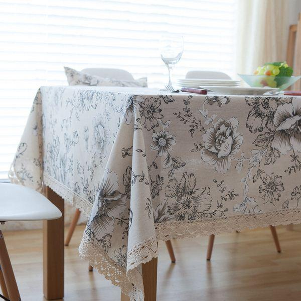 High Quality Peony Cotton Table Cloth China Style Table Covers With Lace  Edge Party Kitchen Tablecloth Nappe Manteles ZB 65 Tablecloth Peony Cheap  Cover ...