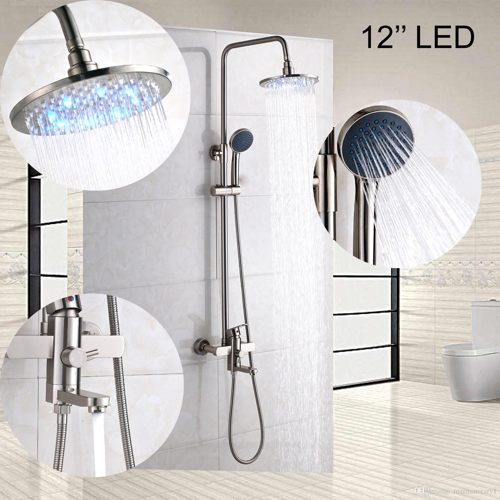 12 Inch Led Brushed Nickel Round Shower Head Faucet Set Wall Mounted Tub Spout Tap Three Functions