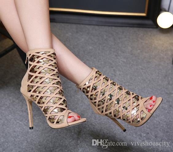 Compre 2018 Sexy Zapatos De Tacones Altos Para Mujer Dios Tiras Ahueca  Hacia Fuera Los Tacones De Aguja Peep Toe Botín Tamaño 35 A 40 A  32.61 Del  ... d495d5e1ad43
