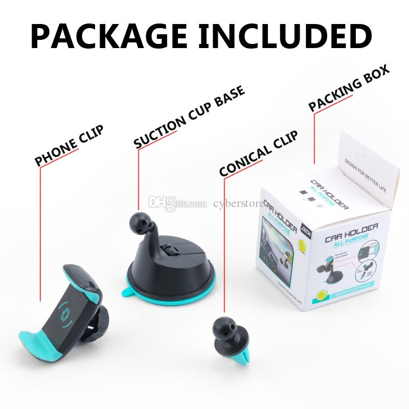 2 in 1 Mini Windshield Car Mount Holder 360 Rotating Air Vent Sunction Kickstand For Mobile Cell phone iphone Samsung S8 GPS