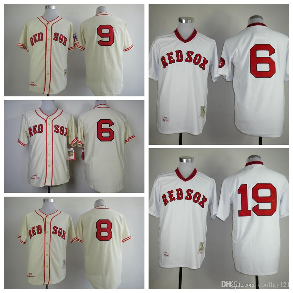 121a398b7 Mens Mitchell and Ness Boston Red Sox 9 Ted Williams Replica Cream Throwback  MLB Jersey 9 Ted Williams Jersey Boston Red Sox Baseball Jerseys Throwback  8 ...