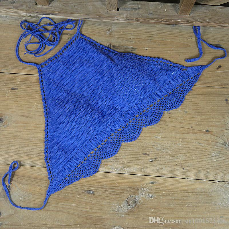 Padded crocheted bikini swimwear Crop Top , can be adjusted. honeymoon beach, swimming pools, spas yacht bikini Top