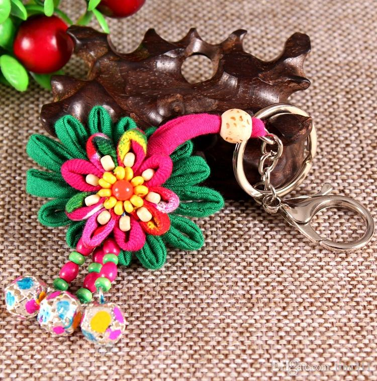 Wholesale - New Handmade Cloth Keychain Flower bag Pendant Creative Keychain Clothing Strap Accessories Multi color CA067