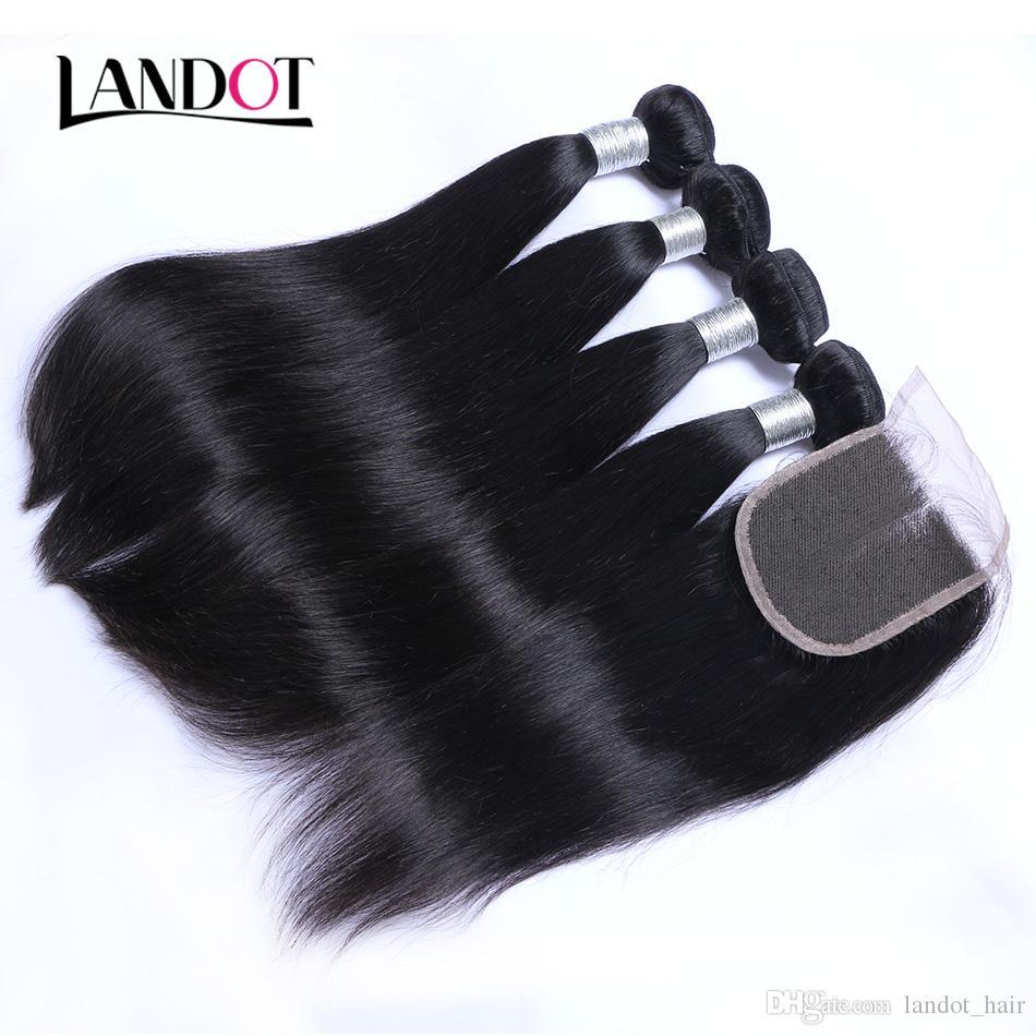 Brasilianisches peruanisches malaysisches indisches gerades Jungfrau-Menschenhaar spinnt mit Schließung unverarbeitete brasilianische Remy-Haar-Bündel und Spitze-Verschlüsse