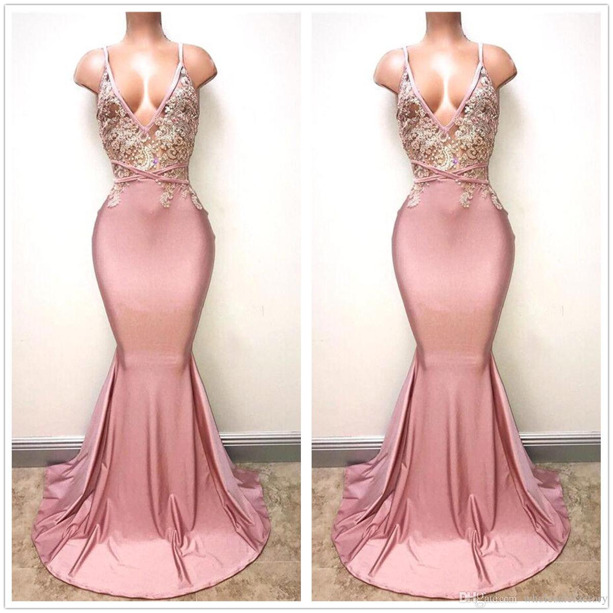 878f92e656 Sexy Blush Pink Deep V Neck Satin Mermaid Prom Dresses 2018 Lace Applique  Beaded Backless Formal Evening Gowns BA7166 White Prom Dresses Uk 2015 Prom  Dress ...