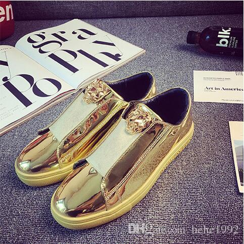 Korean version of the trend of patent leather men 's shoes bright panel shoes leisure personality a pedal lazy shoes
