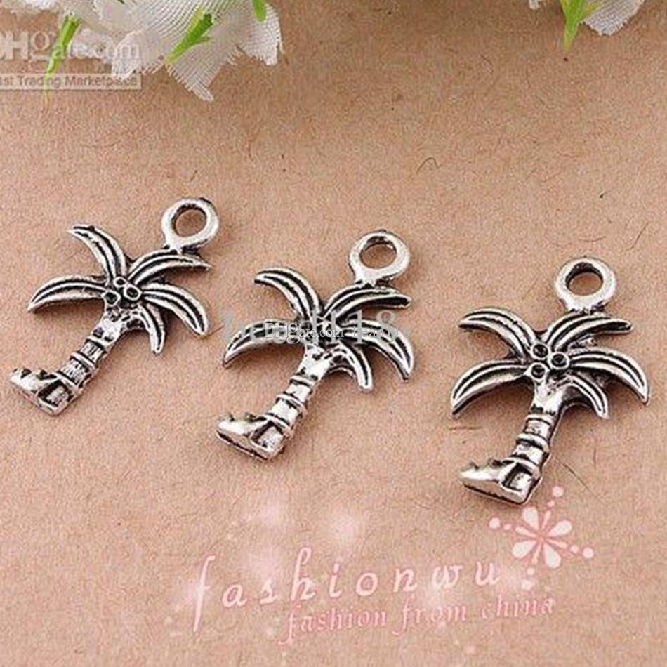 Coconut Palm Tree Charms Hangers 100 stks / partij Antiek Zilver Mode DIY Accessoires Fit Armbanden Ketting Oorbellen 15x22mm