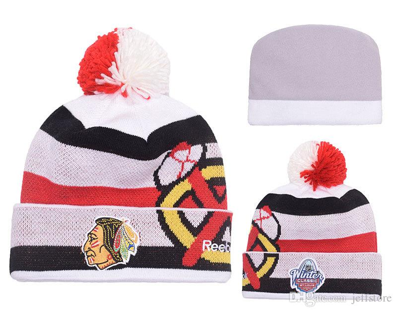 Men S Blackhawks White 2017 Winter Classic Beanie Cap Shop Knitted Hat From  Jeffstore 044cbc7e453