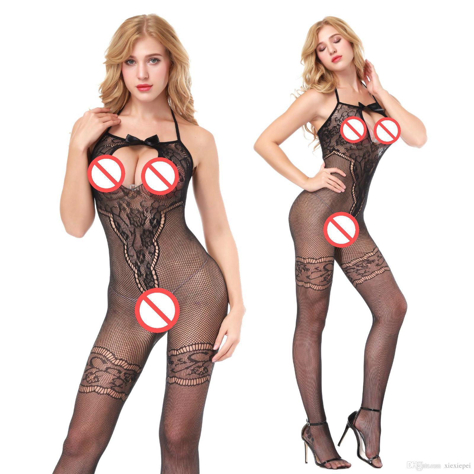 Sıkı Halter seksi bodystocking elastik bodysuit gecelik nightie pijama bodysuit lenceria onesie açık crotch bodysuit