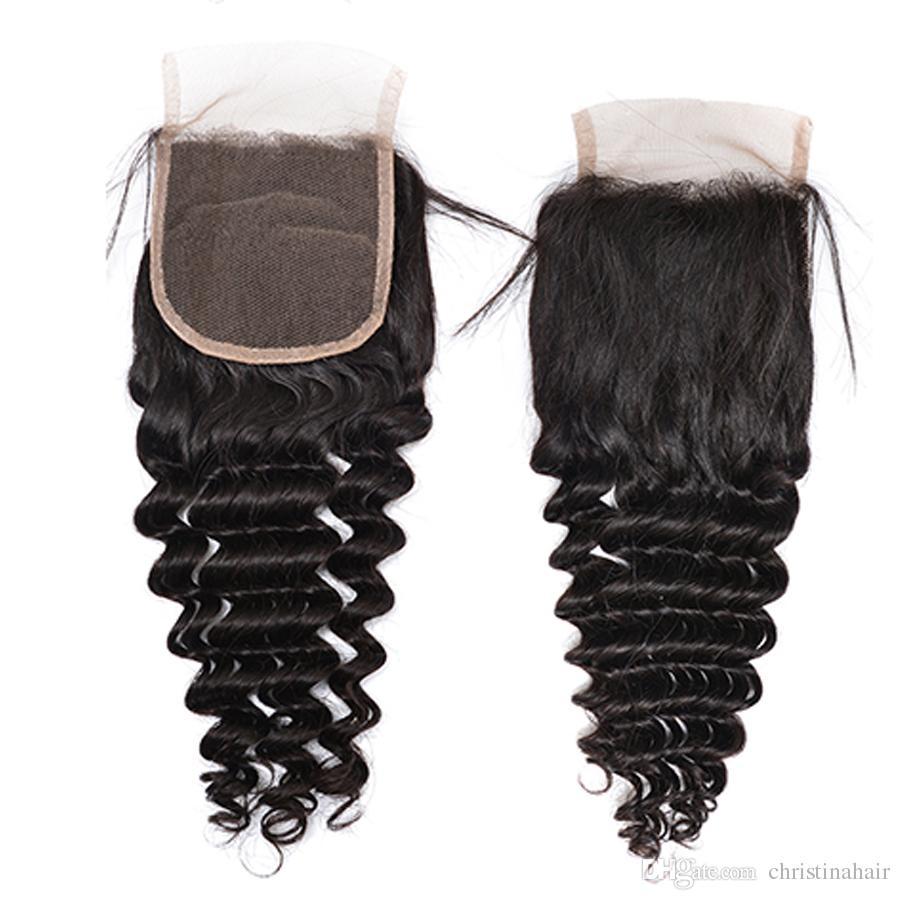 100% Işlenmemiş Bakire Brezilyalı Perulu Hint Malezya Moğol Saç Örgüleri Derin Dalga Saç Uzantıları 4 adet Kapatma Ile Saç Demetleri