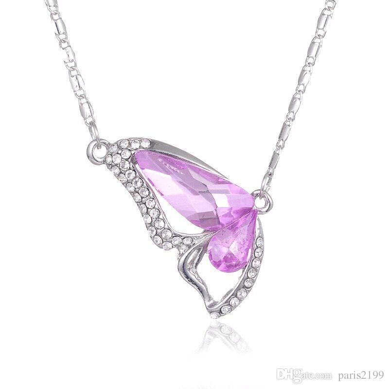 Vendite calde-Nuova moda S925 coreano farfalla danza ciondolo pendente di cristallo collane boutique di commercio estero fonti gioielli donna