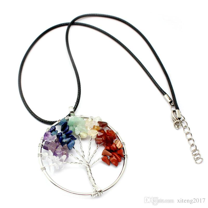 Tree Of Life Кварцевый ожерелье Радуга 7 Чакра Multicolor Природный камень мудрости Дерево Кожа цепи ожерелье для девочек