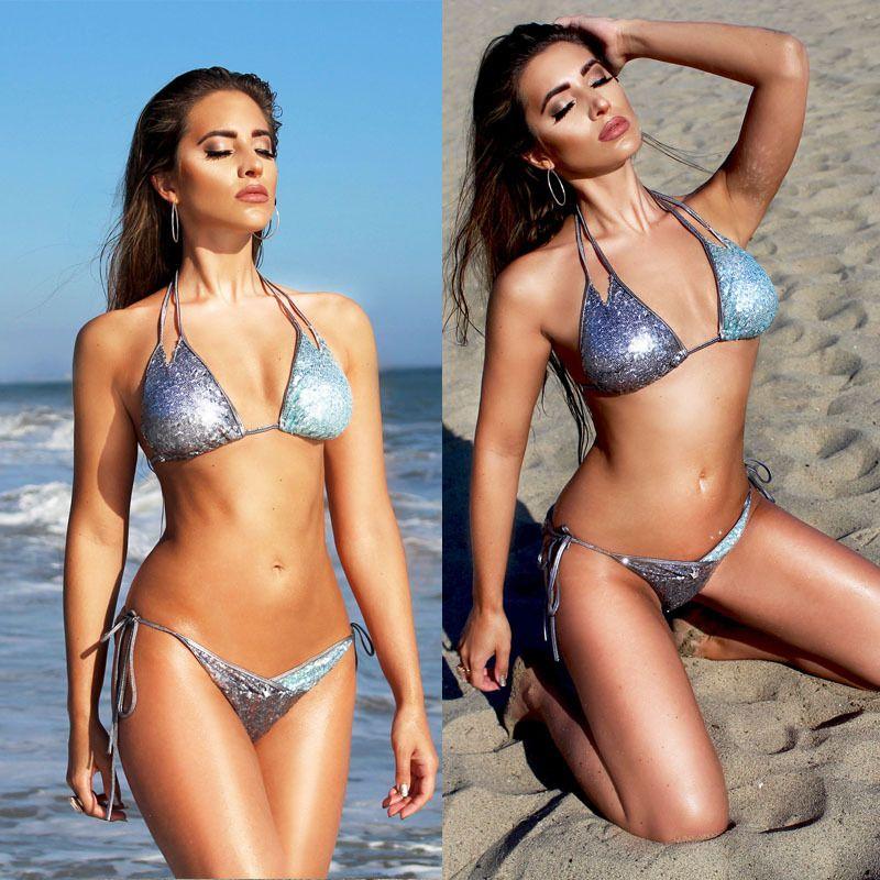 77fdd3d7d09e5 2019 Women Swimwear Sequins Bikinis Summer Beach Bandage Two Piece Swimsuit  Lady Sexy Padded Bra Bathing Suit Swimming Sets Beachwear Plus Size From ...
