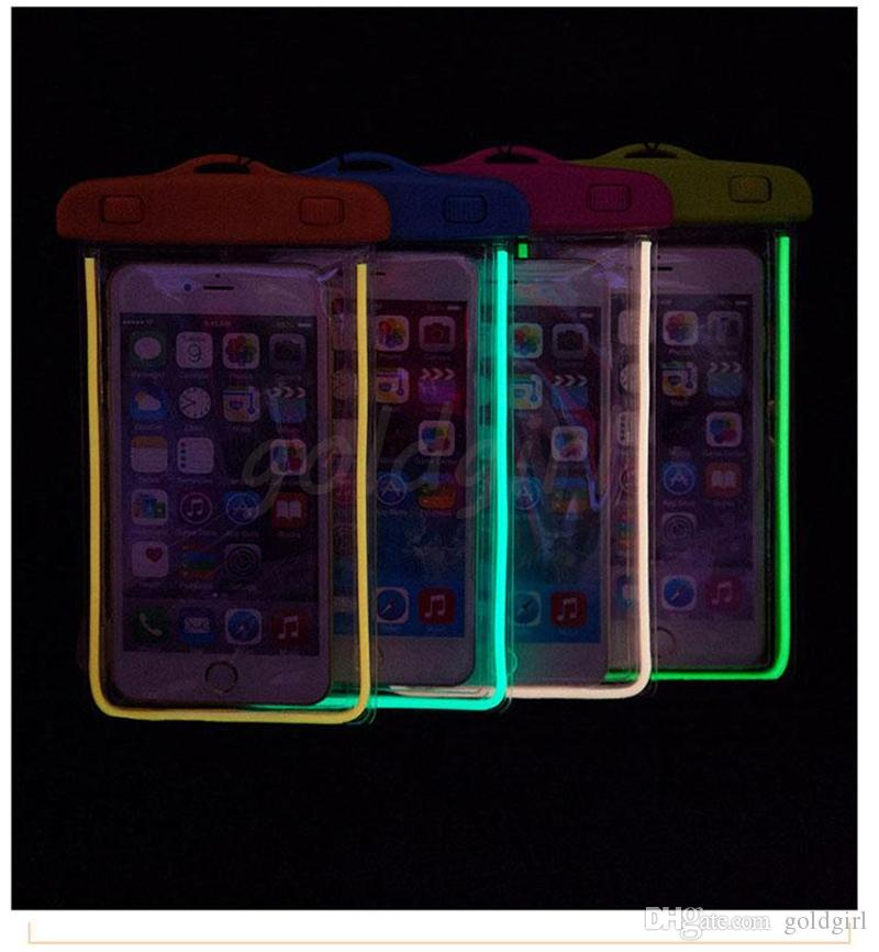 Luminous Case Pouch Swim Diving Bag Universal Dry PVC Waterproof led Cover night light For iPhone 5S 6 plus S6 edge S5 Note 3 4