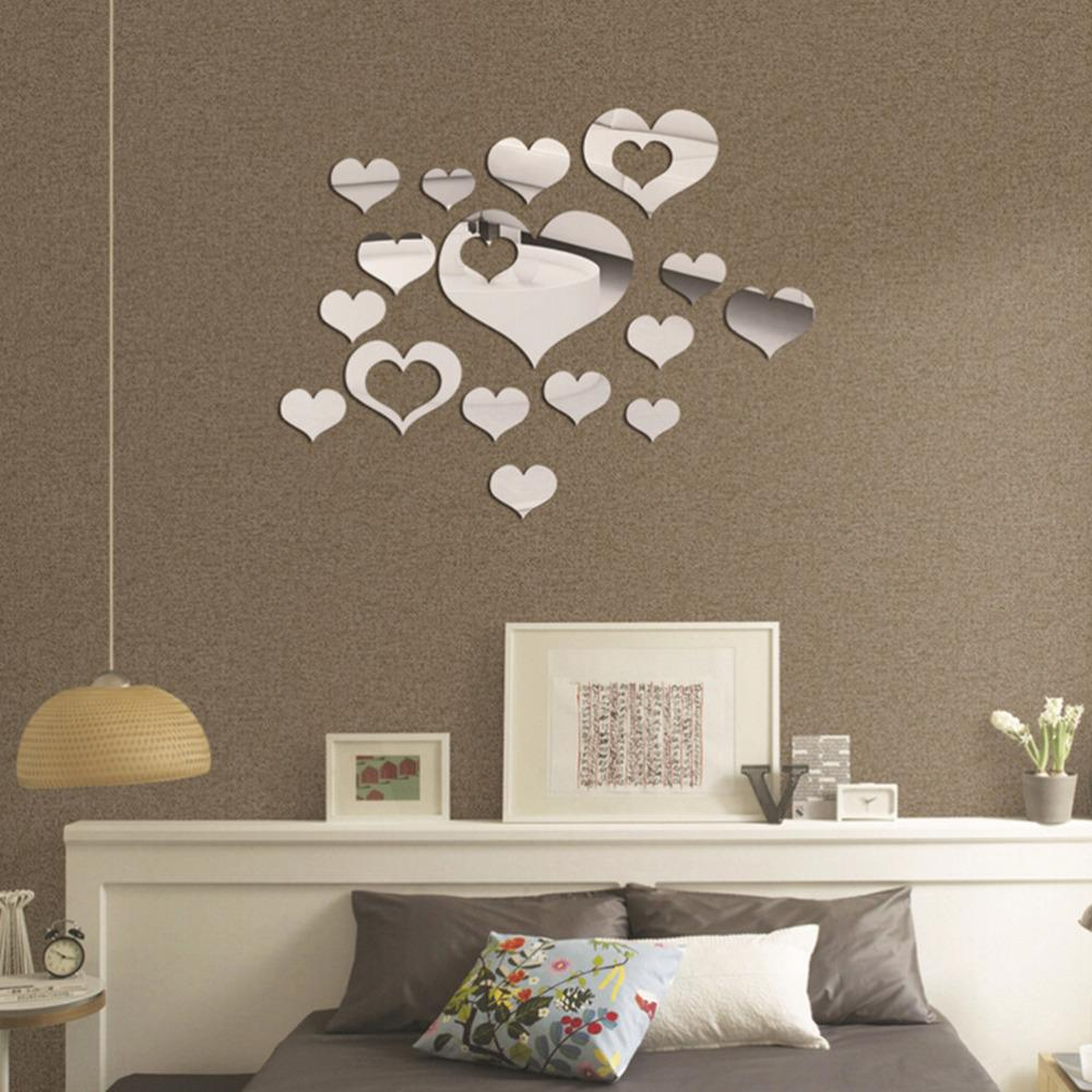 Acrylic Wall Mirror diy romantic decorative mirror hearts decoration mirror surface