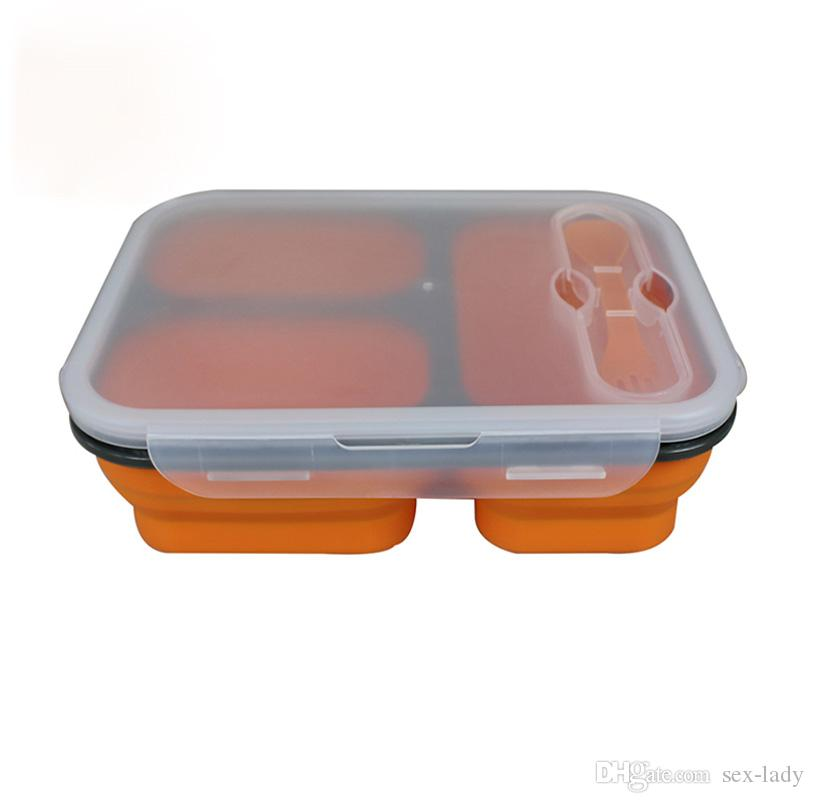 Silicone Collapsible Portable Lunch Boxes Bowl Bento Boxes Folding Food Storage Container Lunchbox Eco-Friendly 600m l+200ml +250ml