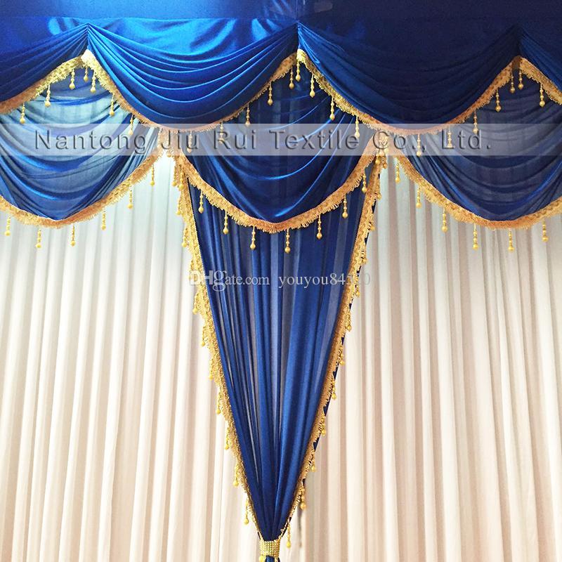 3mH * 6mW ستارة بيضاء من الحرير الجليد رائعة سوجس الملكي الأزرق والستائر مع خلفية شرابات الذهب لحضور حفل زفاف