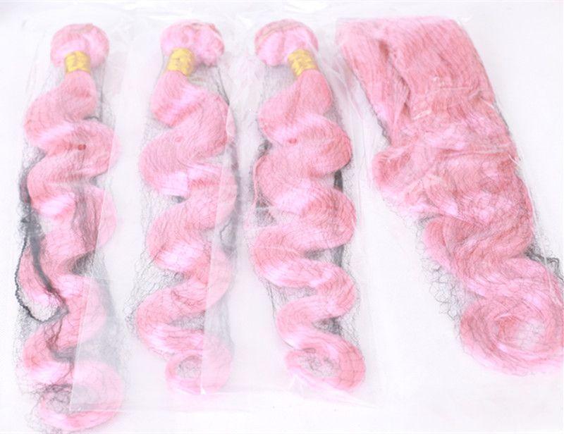 جديد وصول الوردي حزم الشعر البشري مع الأذن إلى الأذن أمامي إغلاق البرازيلي الجسم موجة الشعر التمديد مع الرباط أمامي 13x4