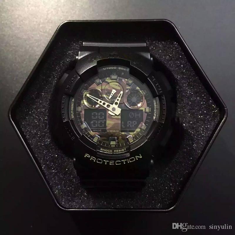 bb1421551f3 Compre G Estilo Choque Dos Homens Digitais LED Quartz Sports Watch Pulseira  De Borracha Do Exército Militar De Quartzo Relógio Relógio De Pulso Dos  Homens À ...