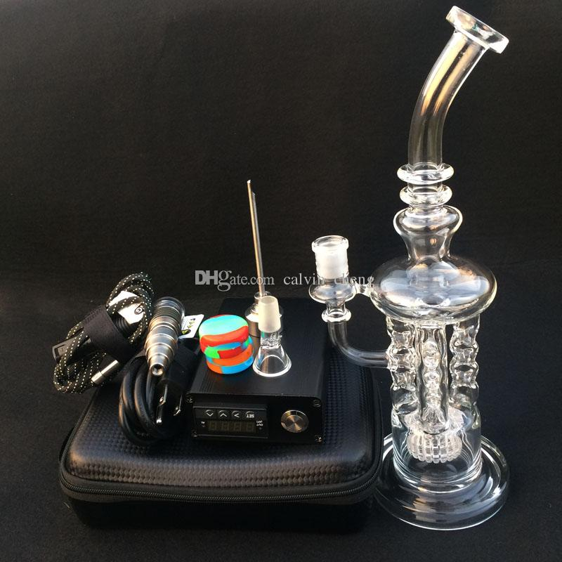 Newest Heady glass bongs water pipes 12.5 inch bong Electric Digital Nail kit Heating coil flat 10mm 16mm 20mm Dabbing glass rig