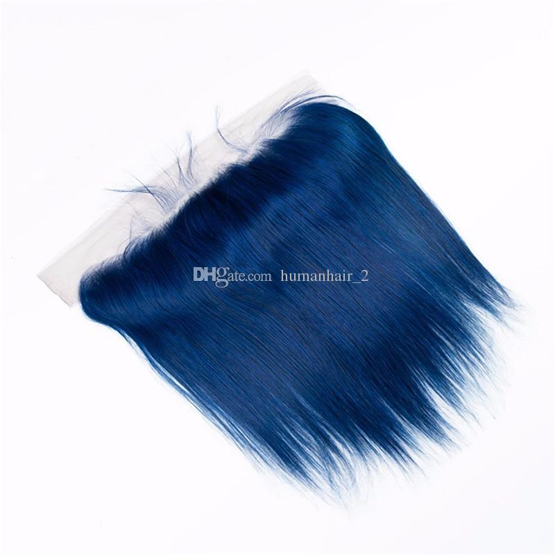 브라질 인간의 버진 머리카락 직선 파란 머리카락 3 번들 레이스 정면 폐쇄 코스프레 인간의 머리카락 직선 파란 레이스 정면과 직물