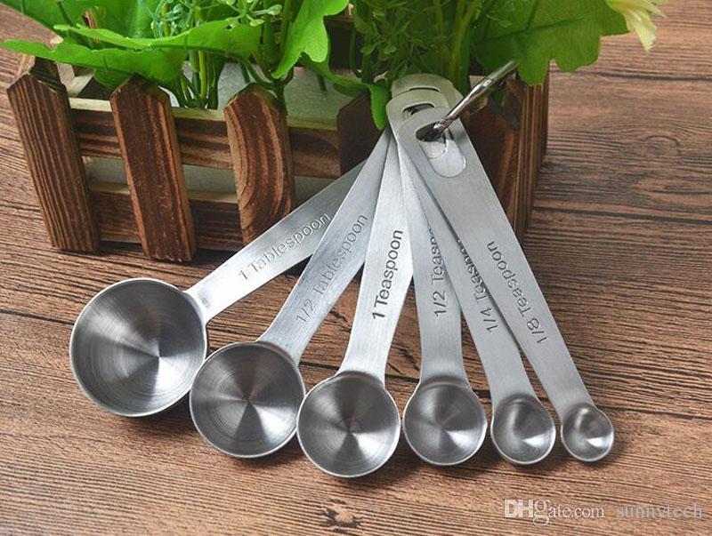 / set en acier inoxydable cuillères à mesurer tasses ensemble de mesure outils pour la cuisson du café 6 tailles ensembles de cuillères