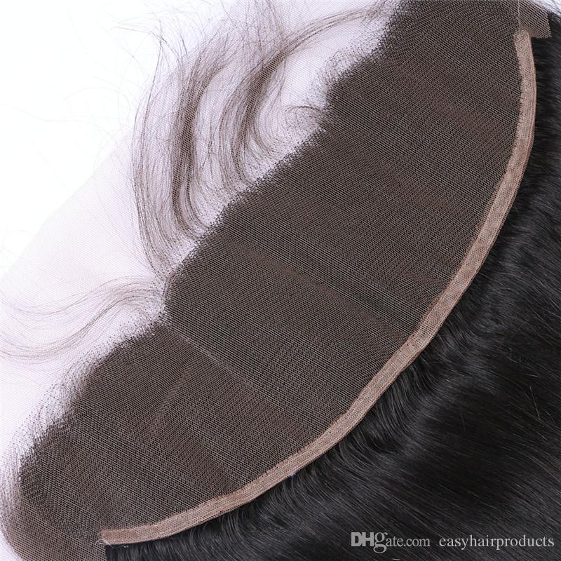 Parte frontale frontale del merletto del merletto dei capelli diritti umani malesi candeggiati nodi naturali vergini pieno frontale pieno del pizzo