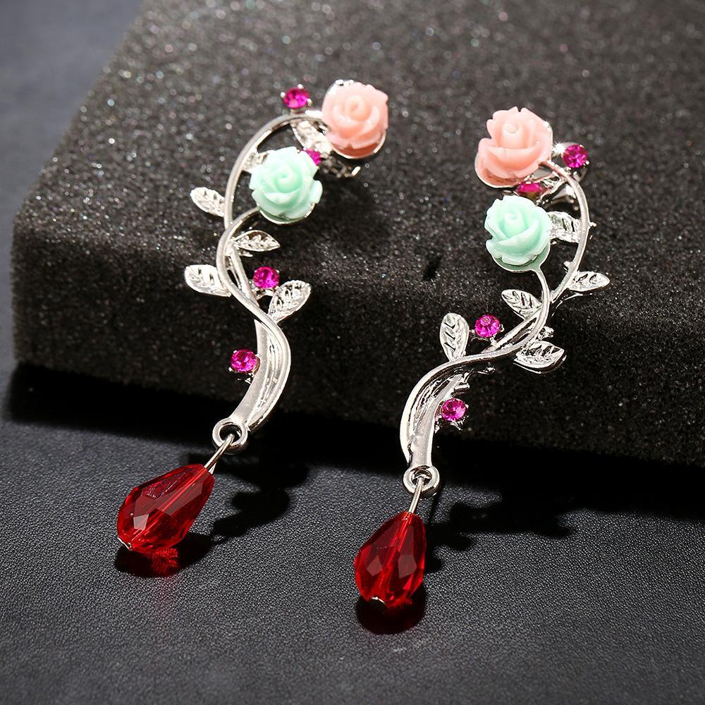 2017 Fashion Ear Cuff Fashion Gold Silver Cutout Flower Drop Crystal pierced Clip Earrings Ear Cuff For Women boucles bijoux