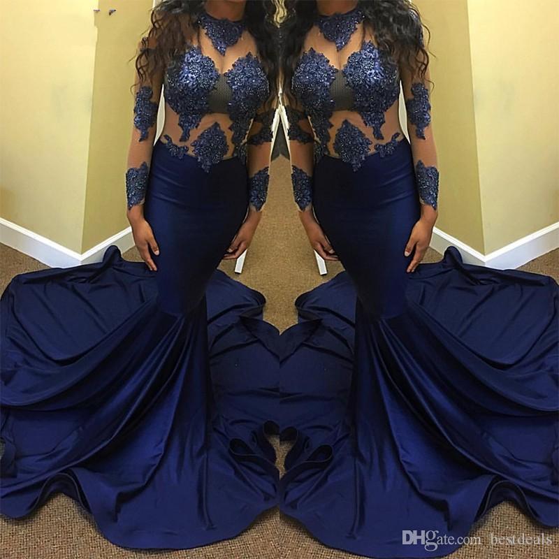 2017 neue Sexy Marineblau Abendkleid Lang für Schwarze Mädchen Sheer Spitze Perlen Top Lange Ärmel Sweep Zug Formale Abend Party Kleid