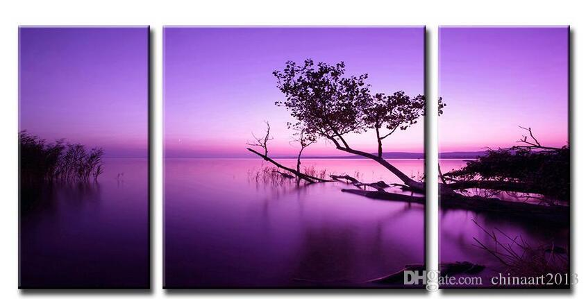 Abstract Oil Painting Modern Canvas Wall Art Picture Combined Paintings Purple Lake Unframed Canvas Painting