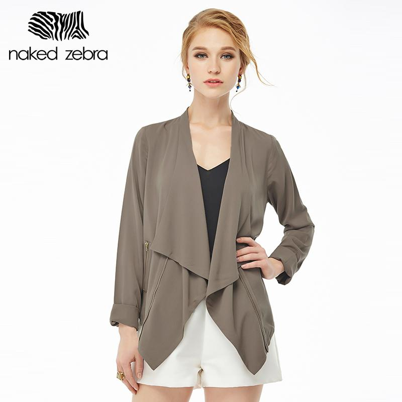6c550028daa51 Wholesale- Naked Zebra Woman Spring Jacket Pure Color Turn-Down ...