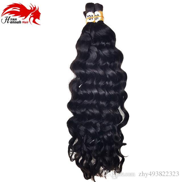 Hot Sale Hannah product 3 bundles 150g Deep Curly Brazilian Bulk Human Hair For Braiding Unprocessed Human Braiding Hair Bulk No Weft