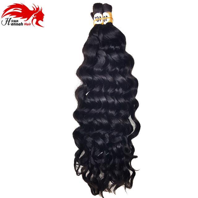 Venta caliente Hannah Producto 3 paquetes 150 g de profundidad rizado Brasileño Brasileño Humano Pelo humano para trenzar Sin procesar Braiding Hair Bulk Sin trama