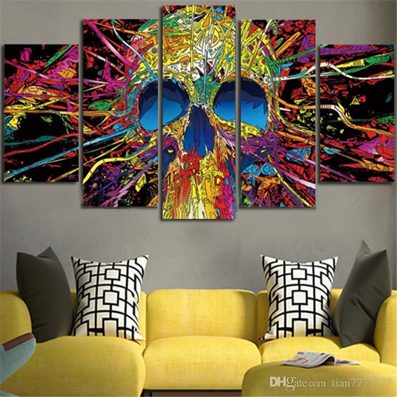 New Abstract Colorful Skull Print Canvas Painting 5Pcs/Set Home Decor Wall Art Picture Unframed Drop Shipping