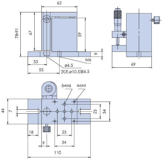 정확한 수동 리프트 PDV에서 수동 연구소 잭 엘리베이터 광학 슬라이딩 리프트 13mm 여행 PT-SD407을 Z는 축