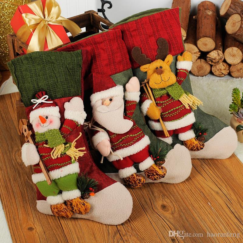Christmas Gift Bags Cloth Stocking Christmas Tree Pendants Santa ...