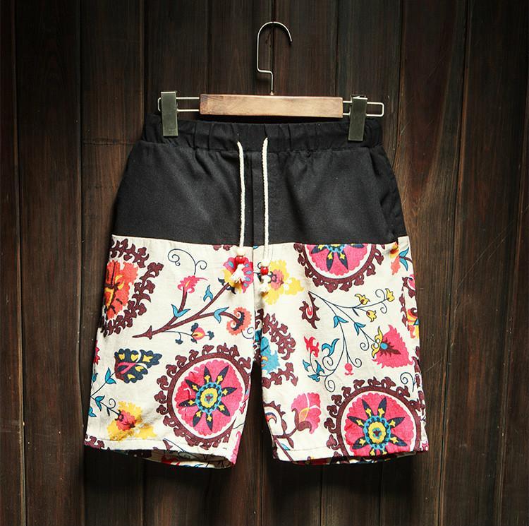 Summer New National Wind Mens Linen Shorts Tide Men Thin Section