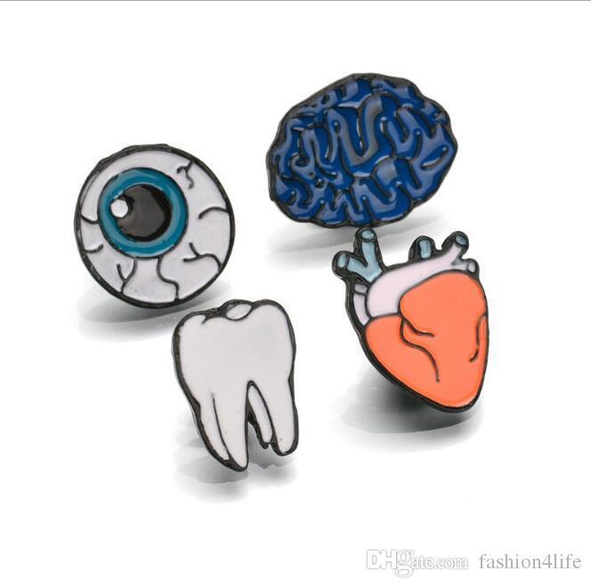 4 PÇS / SET Esmalte Liga de Zinco Dentes Do Olho Cérebro Coração Broches Pinos Órgãos Do Corpo Humano Para As Mulheres Jóias Agulha Broche de Lapela Pin Gola