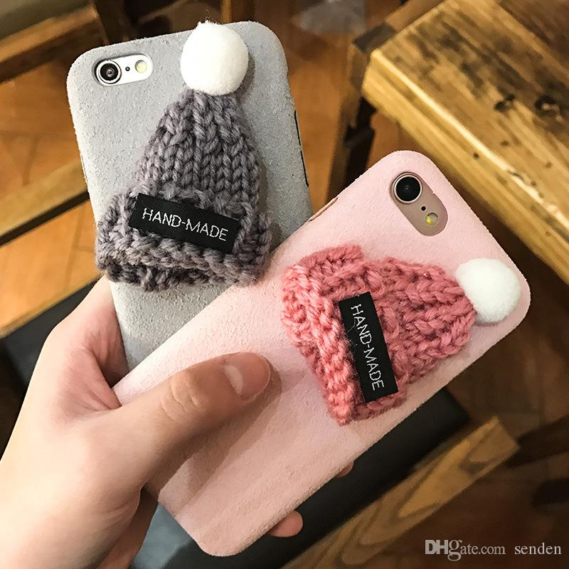 wholesale newest Korea fashion cartoon knitted hat christmas cap winter warm plush cell phone case cover For Iphone6 6s/6plus 6splus/7/7plus