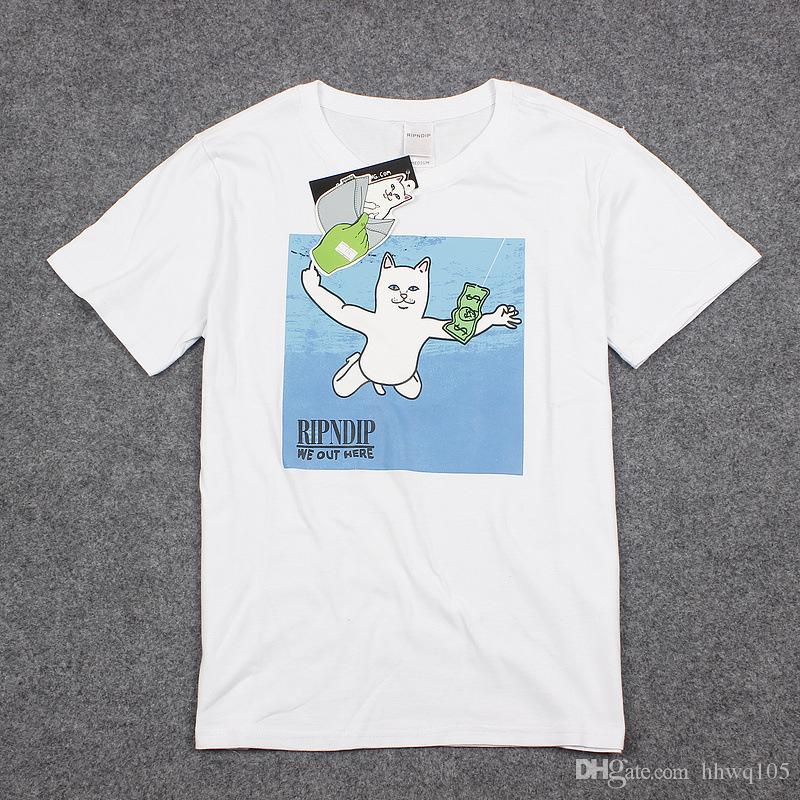 b7f125d01 RipnDip WE OUT HERE T Shirt Men Cat Dollar Print Short Sleeve Tee White  Black 100% Cotton Top Hip Hop Streetwear PXG1234 Funny Shirts Dress Shirt  From ...