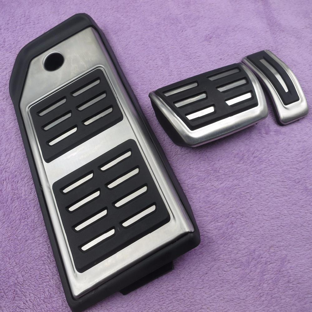 Car accessories For Audi New Q7 2016 2017 Fuel Brake Foot Rest AT pedals Plate Accelerator brake pedal Pads stickers styling