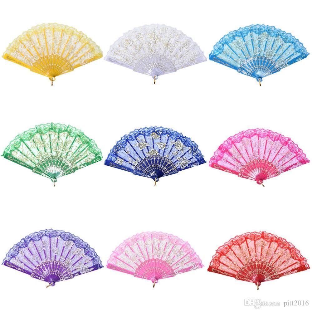 Popular DHL Spanish style rose flower design plastic frame lace silk hand fan, Chinese craft folding fan