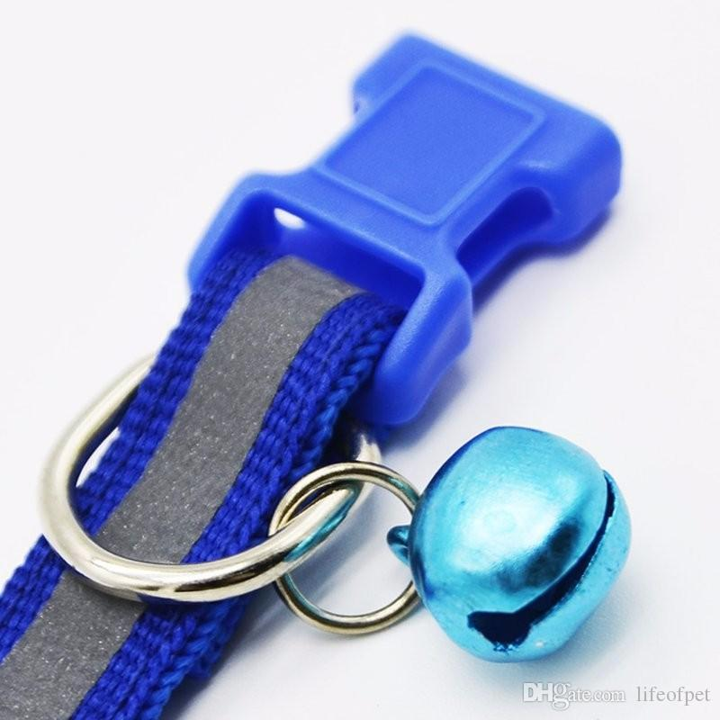 Colorful Pet Necklace Collars Glossy Reflective Safety Buckle Collar With Bell Dogs Cats Puppy Kitten Lovely Gift