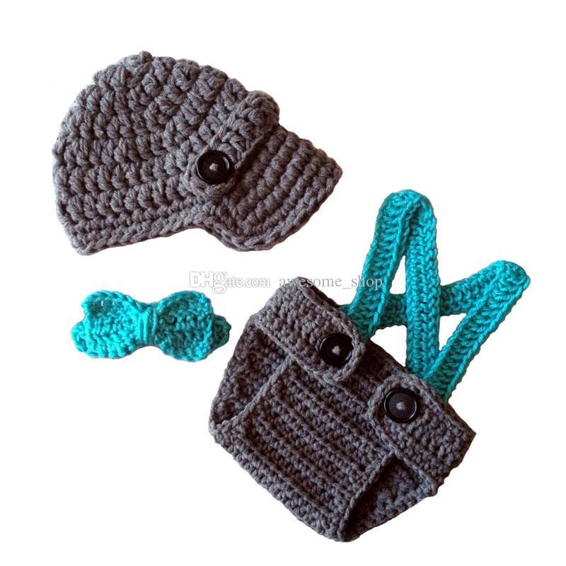 Super Cool Little Man Suit,Handmade Knit Crochet Baby Boy Newsboy Hat,Suspenders Diaper Cover and Bow Tie Set,Infant Newborn Photo Prop