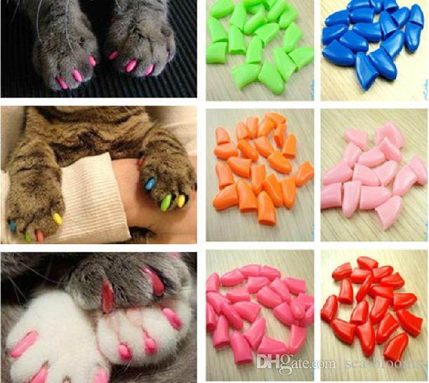 Antiscratch Soft Silicon Nail Caps / Cat Nail Cover / Paw caps / Pet Nail Protector with free Adhesive Glue Size XS-XXL C1