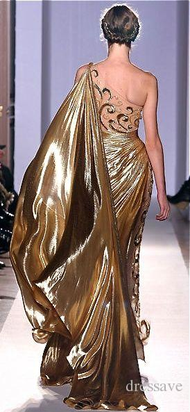 Sexy Um Ombro Pageant De Ouro Vestidos de Baile Zuhair Murad Haute Couture Apliques Brilhantes Longos Vestidos de Noite