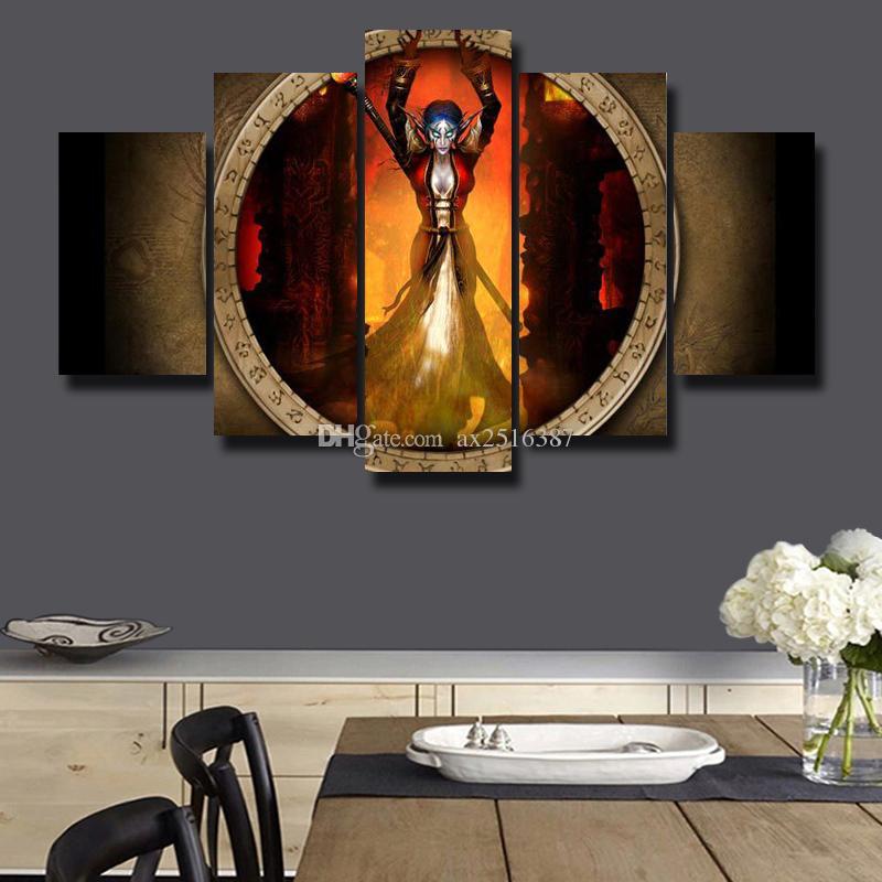 Compre 5 Unids / Set Pintura Lienzo Enmarcado Arte De La Pared ...