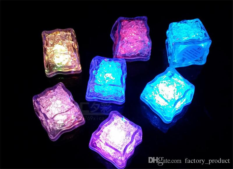 Halloween Flash light Ice Cube Water-Actived Flash Led Light Square lamp Put Into Water Drink Flash Automatically for Party Wedding Bars new