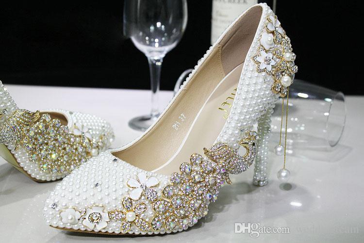 Lüks İnciler Fildişi Düğün Ayakkabı Gelin Kristaller Için Balo Yüksek Topuklu Yonca Rhinestones Artı Boyutu Sivri Burun Gelin Ayakkabıları